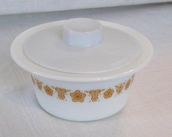 Vintage Round Pyrex Butter Dish, Butter Tub, Butterfly Gold