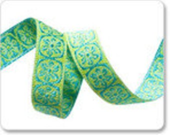 Choose 2, 4, 8 or 12 Yard Cuts - 10mm  3/8 In Woven Jacquard Trim by Anna Maria - Spinning Wheel Collection - Turq/Green SALE Ribbon