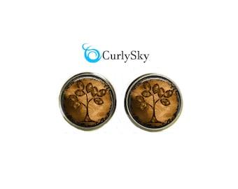 Brown Studs Earrings Brown Tree Stud Earrings Tree Jewelry Brown Tree Jewelry Caramel Brown Studs Brown Tree Studs Vintage Brown Studs