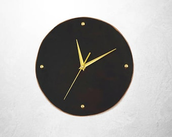 "Modern Leather Clock - Small Wall Clock - Silent Clock - 10"" Minimalist Clock - Brown and Gold Clock"