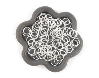 x 100 clear 6mm (30th) silver open jump ring