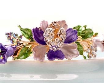 Pretty Mauve Enamel Flower Barrette