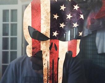 "10"" x 7"" Big Punisher US Flag Skull Decal"