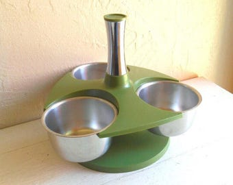 Set of Small Serving Condiment Bowls in Avocado Green Mid-Century Modern Rack