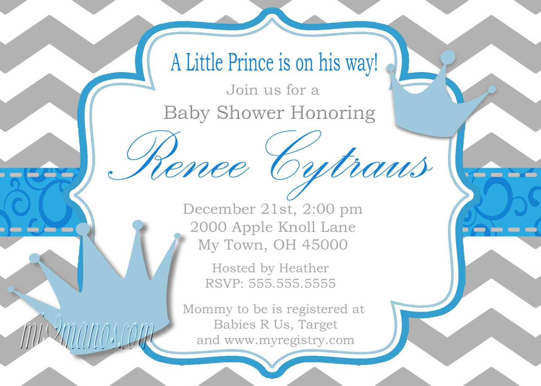 Little Prince Baby Shower Invitation Digital File Baby Shower