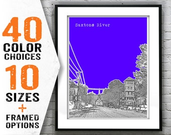 Saxtons River Vermont Skyline Poster Art Print VT Item T1529