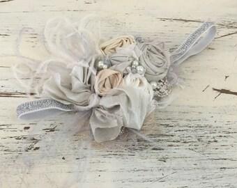 Baby Headband- Ivory Gold Headband- Flower Girl Headband- Tutu Du Monde- Dollcake headband-Newborn Headband-  wedding headband