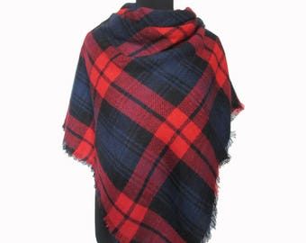 Tartan Scarf, Checkered Blanket Scarf, Red Plaid Scarf, Checkered Shawl, Christmas Gifts for Mom, Red Wrap Shawl, Plaid Fall Scarf