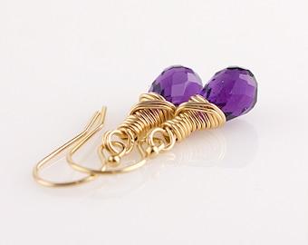Purple Amethyst 14K Gold Filled Earrings