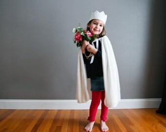 Fait à la main bonne sorcière Cape et couronne blanche enfant enfant enfants princesse Cape velours frappé