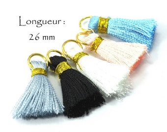 Tassels Colored Pampilles in Silky Cotton Long. 26 mm, 5 different colors (5 pcs)