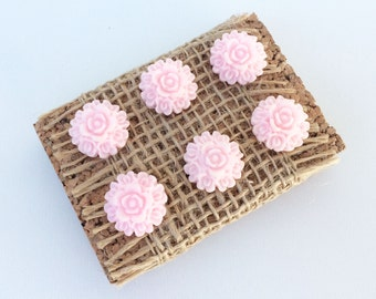 Set of 6 Pink Flower push pins, thumb tacks