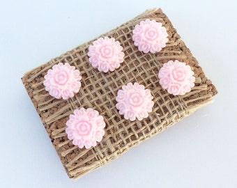 Set of 6 Pink Flower push pins, thumb tacks