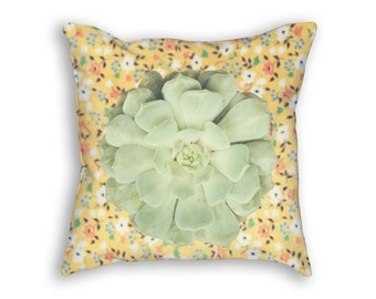 Succulent Pillow, Green and Yellow Pillow, Botanical Pillow Case, Succulent Decor, Green Succulent Home, Succulent Gift, Colorful Pillow