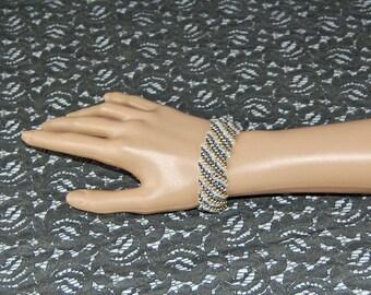 Gunmetal and Gold Flat Cellini Spiral Bracelet