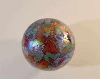 "Handblown Iridescent Glass 3"" Ornament - Midcentury Glass Orb - Vintage Polish Glass Ball"