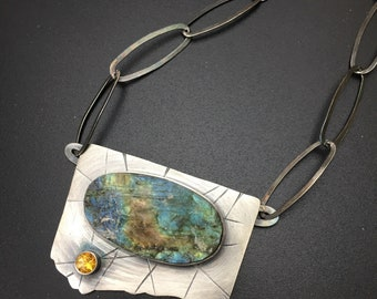 "Natural labradorite drusy statement necklace, ""Tripwire"" texture sterling silver, citrine, big bold chain"