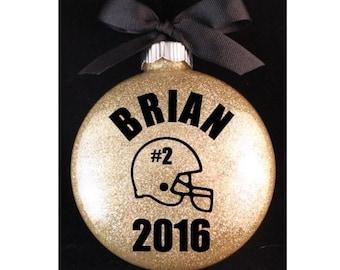 Football Christmas Ornament, Football Helmet with Jersey Number Christmas Ornament, Football Player Christmas Ornament with Year