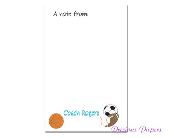 Personalized gym teacher notepad with sports balls  PE teacher notepad Gym teacher gift