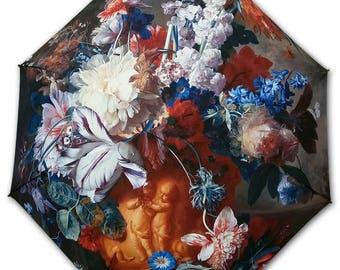 FOLDABLE umbrella - Painter Jan Van HUYSUM - flower vase