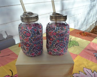 Mason Jar Cozies Quart Jar Insulated (set of two) Pink and purple paisley