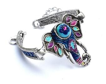 Silver Turquoise Elephant Bracelet Hippie Boho Jewelry FREE SHIPPING