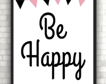 "Poster Print ""be happy"""