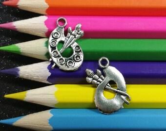 10 PCS - Paint Brush Palette Artist School Silver Charm Pendant C0014