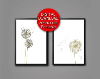 Printable Dandelion Art Scandinavian Modern Set of 2 Prints 24x36 A3 16x20 8x10 11x14 A4 5x7