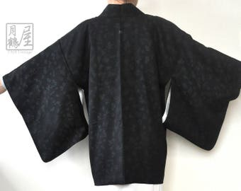 Black kimono jacket/japanese silk haori/vintage authentic black short kimono robe cardigan/kimono fabric/oriental boho jacket/duster coat