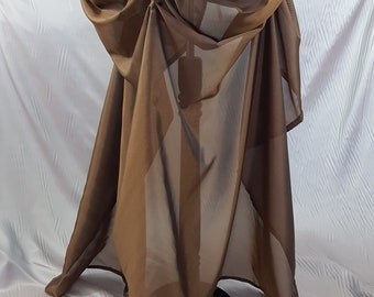 Brown Bronze Gold Organza Floor Length Tie Bustle Skirt-One Size Fits All