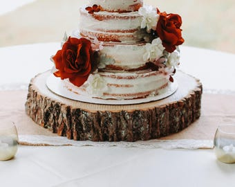 Wood slab cake stand! Wood slice cake stand wood slab rustic cake & Rustic cake stand | Etsy