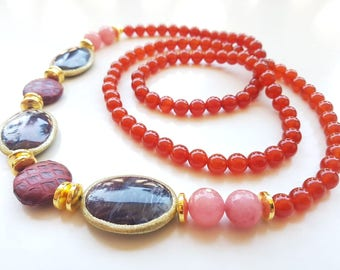 Gemstone necklace, handmade necklace, handmade gemstone jewelry, long necklace, gift for women, gift for woman, carnelian
