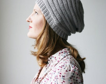 Slouchy knit hat, light grey merino wool beanie -- Minique's slouch