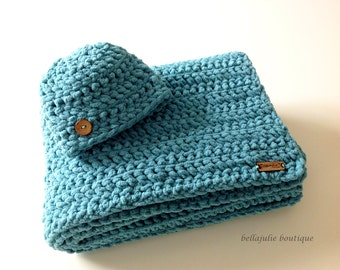 Chunky Crochet Baby Blanket and Hat Set, Chunky Crochet Throw, Super Soft Baby Blanket, Chunky Crochet Hat, Teal Color, Ready To Ship!!!