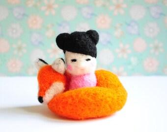 Girl with fox - Little Girl, Orange Fox, Japan Anime,  Amigurumi, Fox Lover Gift, Miniature Girl, Miniature Fox, Felting, Needle Felt Doll