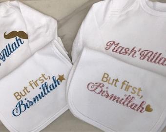 """Baby Boy """"Mashallah"""" Onsie & Bib Set"""