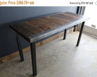 Limited Time Sale 10% OFF Authentic Industrial Dining Table with raw steel trim and straight steel legs