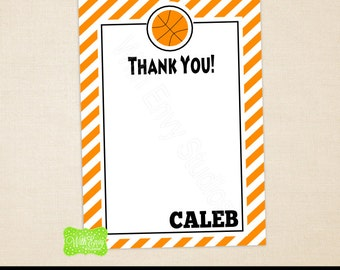 Basketball Thank You Card - Sports Thank You Card - Basketball Note Card - Personalized Note Card - Emailed or Shipped Available