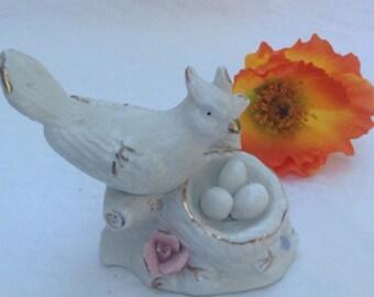 Porcelain Bird With Nest Full Of Eggs