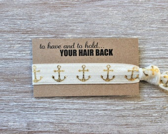 Ivory Gold Anchor Hair Tie