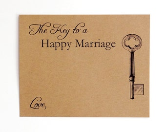 Marriage Advice Cards - The Key to a Happy Marriage - Rustic Kraft Brown - Bridal Advice Card - Couple Shower Game - Wedding Guestbook