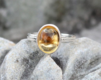 Citrine Ring, November Birthstone Ring, Natural Citrine Ring, Sterling Silver Citrine Ring, Jewelry Gift, Yellow color, Gem Stone, Jewelry