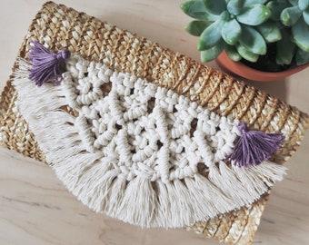Macrame straw clutch