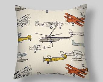 Gray Pillows, Orange Pillow Covers, Tan Throw Pillows, Vintage Airplanes, Decorative Pillows, Accent Pillows,  All Sizes 16 18x18 20