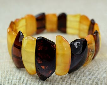 Amber bracelet for adults, Baltic amber, adult Baltic amber bracelet, multicolored amber bracelet, amber bracelet, stretch bracelet
