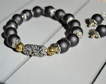 MATTE BLACK BRACELET Stretch Beaded Bracelet Matching Earrings Filigree Focal Beads