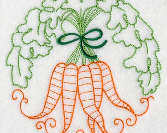 Carrot Bunch Embroidered Flour Sack Hand/Dish Towel