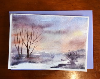 Dark Cloud Landscape Original Watercolour Painting Card A6