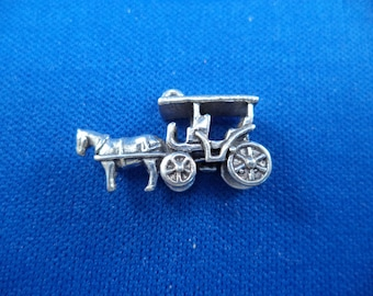 STERLING SILVER 3D Horse and Carriage Charm for Charm Bracelet